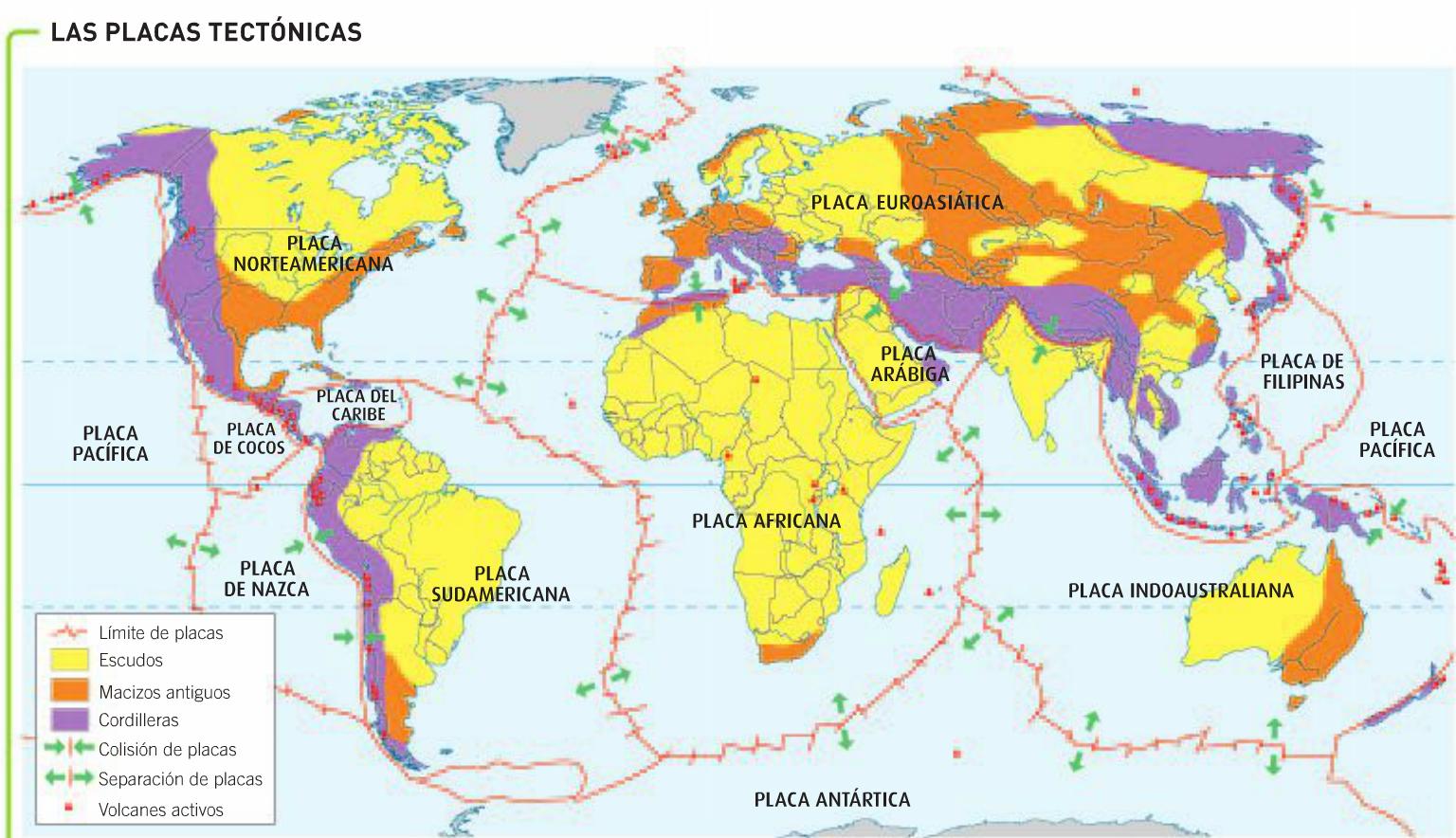 Resultado de imagen de mapa placas tectonicas